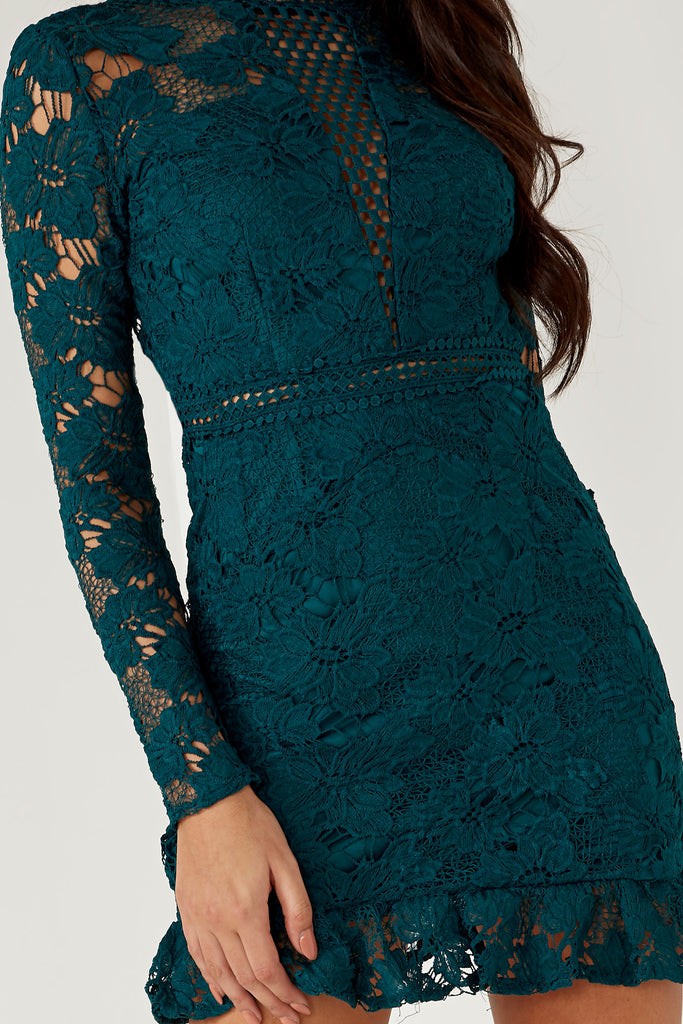 Kirsty Teal Crochet High Neck Dress (1645661093954)