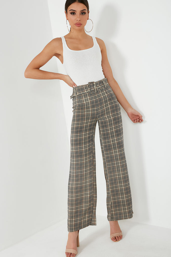 Kola Brown Check Wide Leg Trousers