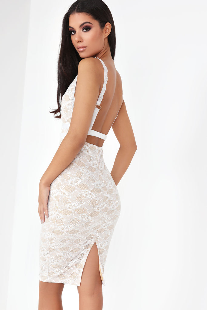 Kori White and Nude Lace Dress