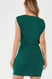 Kyla Green Plunge Neck Slinky Bodycon Dress