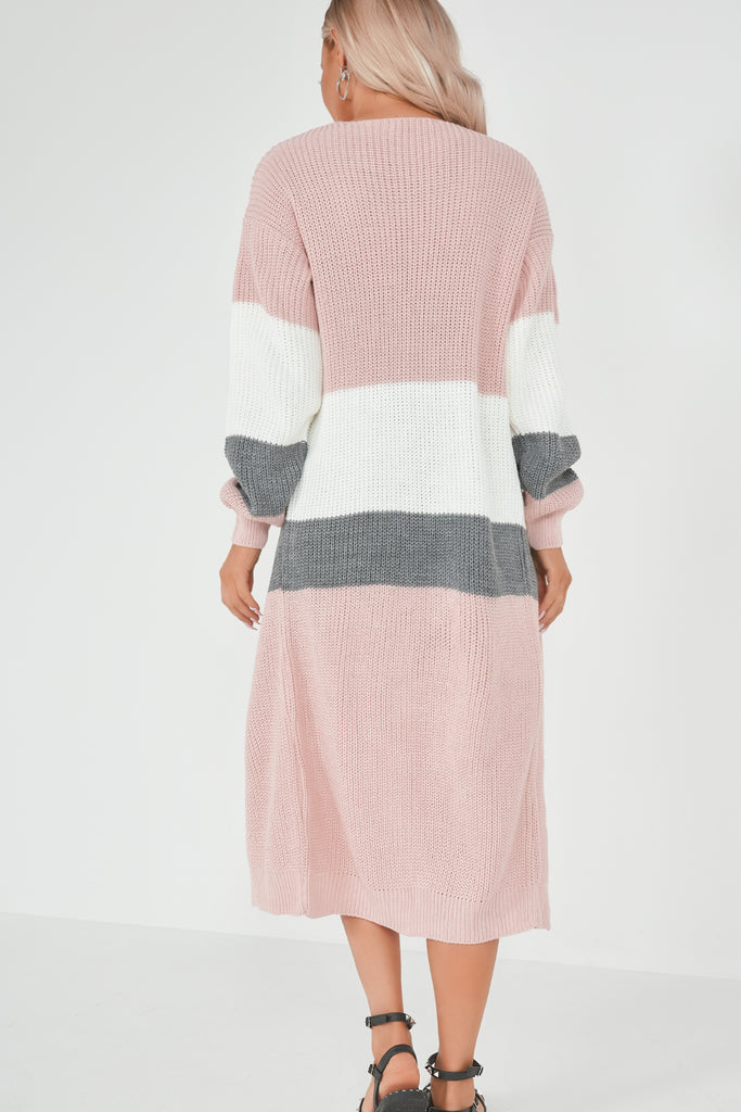 Kyla Pink Colour Block Longline Knit Cardigan