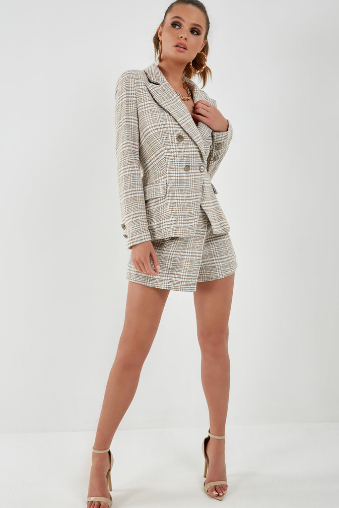 Kylie Check Blazer and Shorts Co Ord