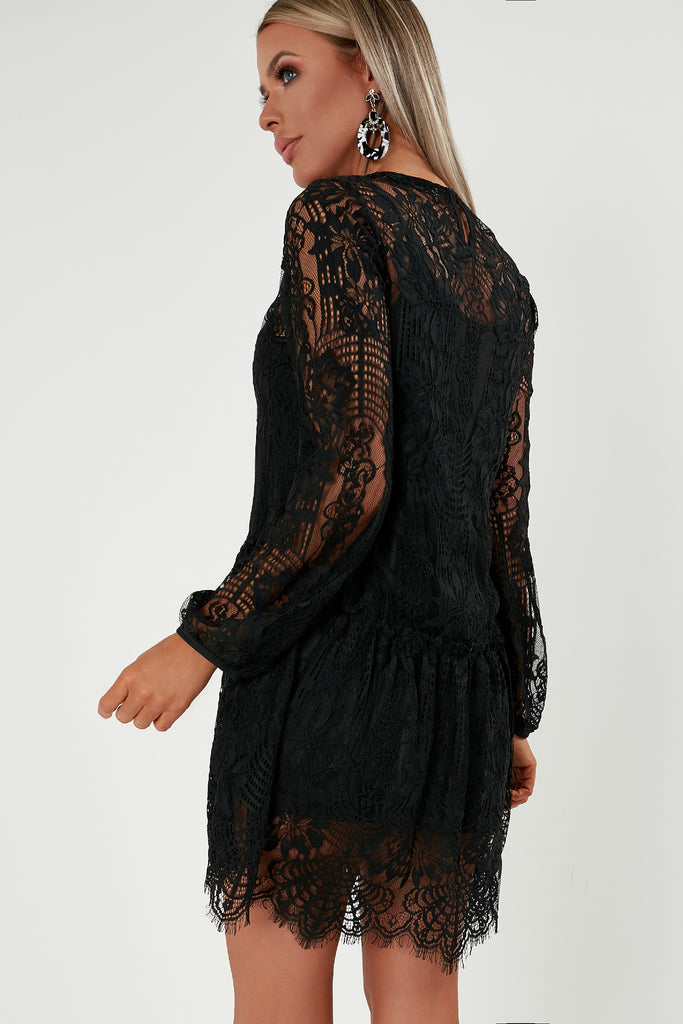 Lacey Black Lace Smock Dress