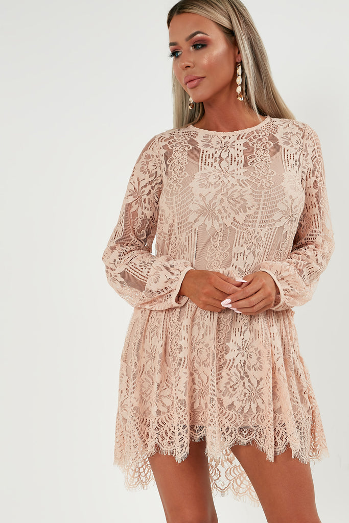 lacey-nude-lace-smock-dress