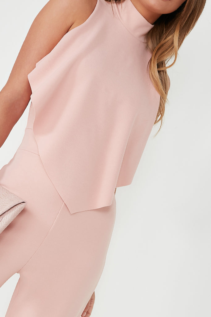 Lada Blush High Neck Frill Jumpsuit