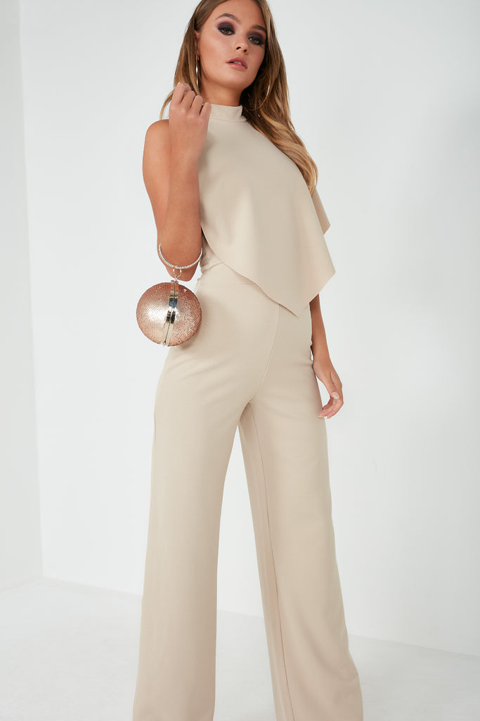 Lada Stone High Neck Frill Jumpsuit