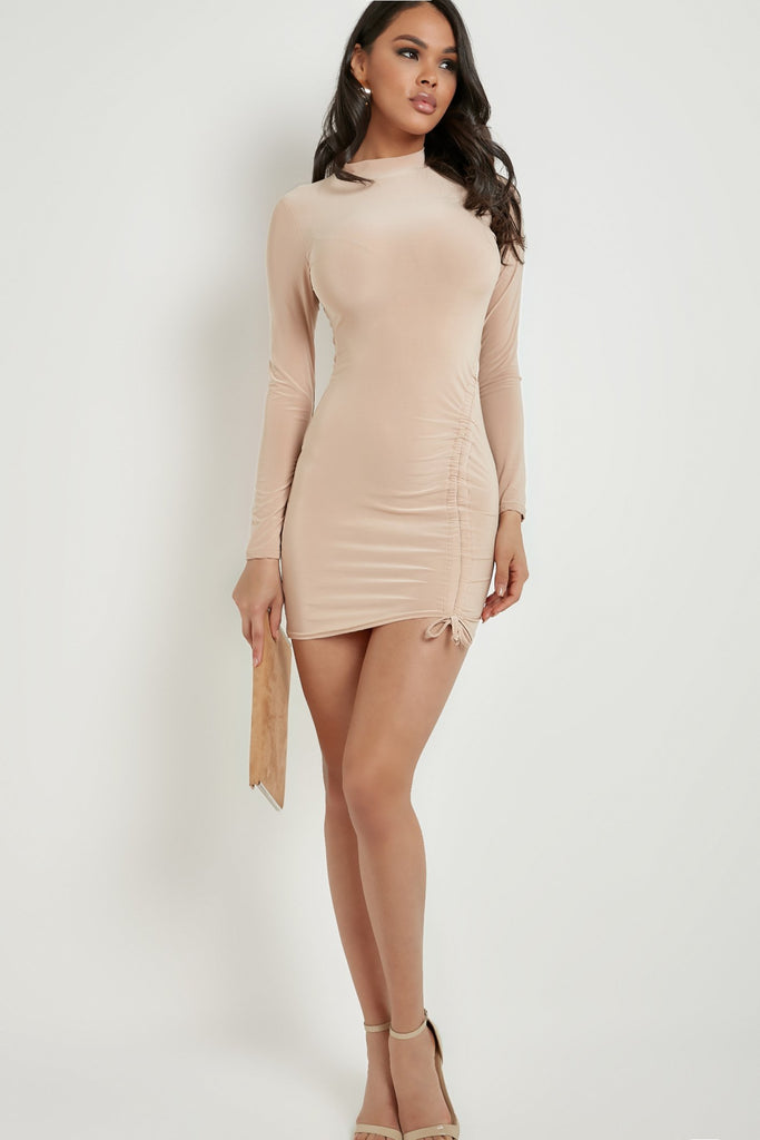 Lainey Nude High Neck Ruched Slinky Mini Dress