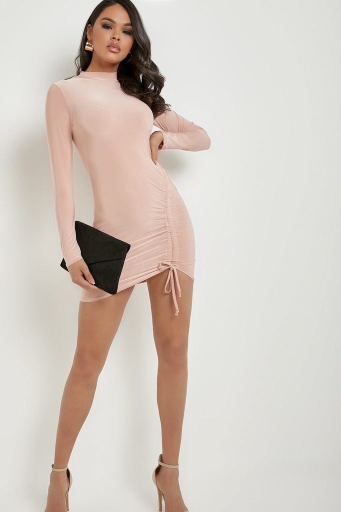 Lainey Pink High Neck Ruched Slinky Mini Dress