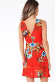Lanora Red Floral Tie Front Dress