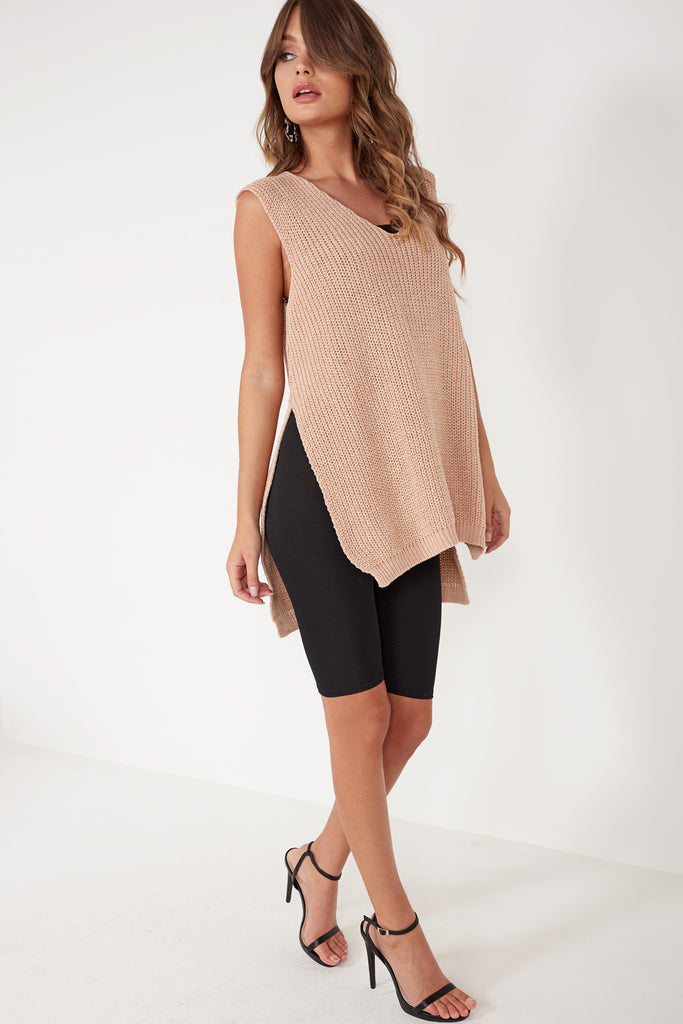 Lareen Pink Knit V Neck Sleeveless Jumper