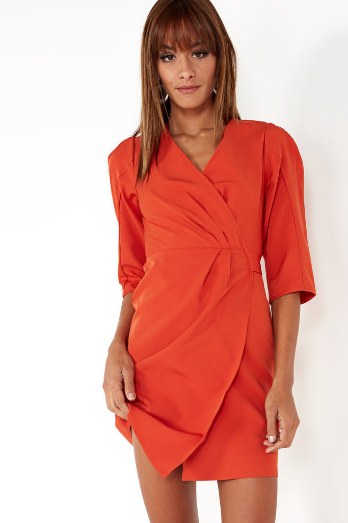 Lari Rust Wrap Front Mini Dress