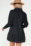 Larisa Black Frill Hem Shirt Dress