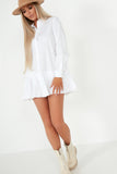 Larisa White Frill Hem Shirt Dress
