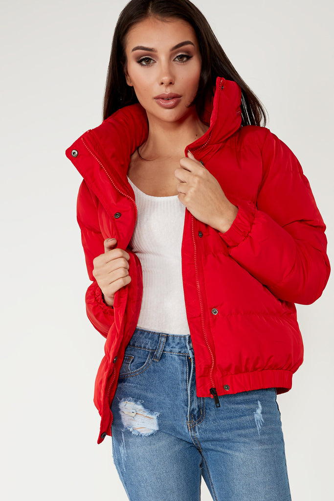 Latisha Red Paneled Puffer Jacket