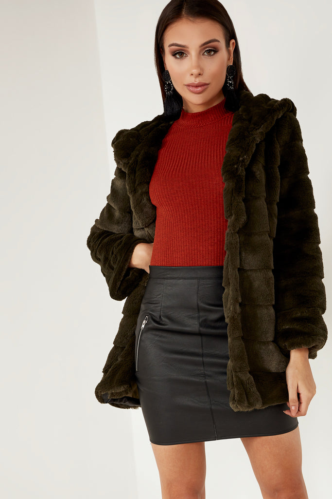 Laura Green Faux Fur Hooded Jacket