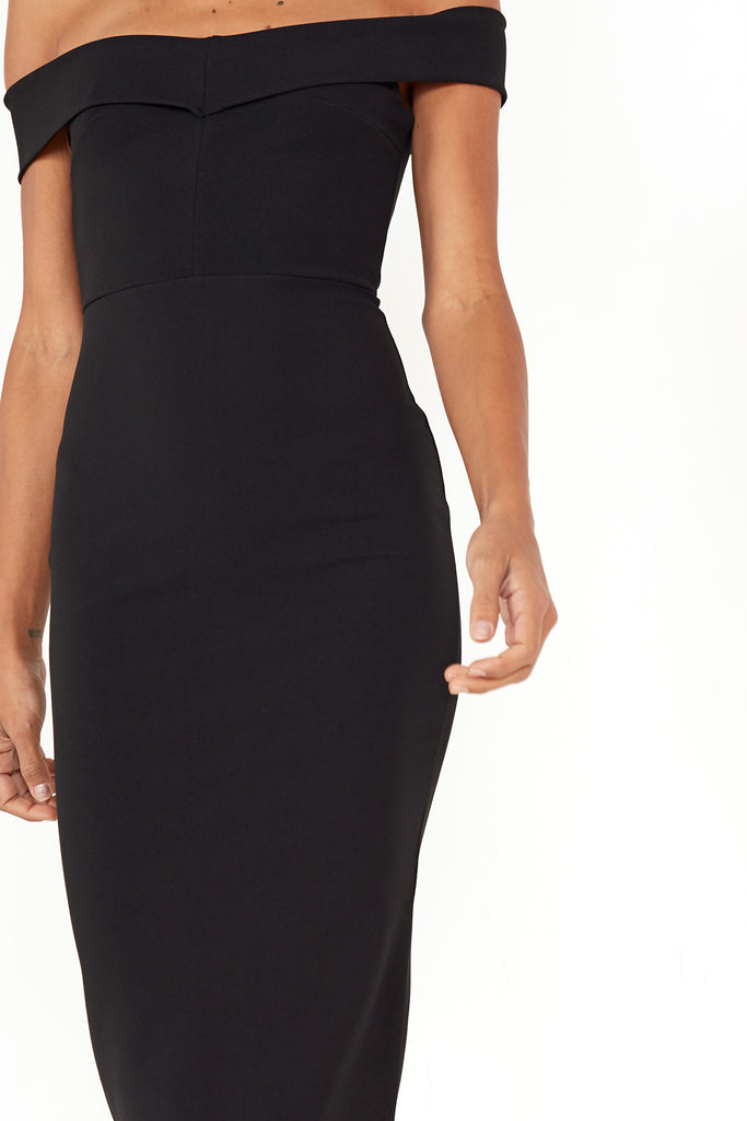 Lauralee Black Bardot Midi Dress
