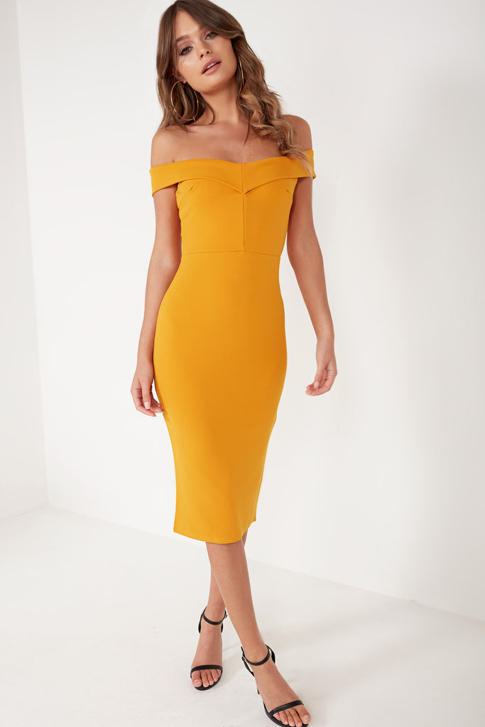 Lauralee Mustard Bardot Midi Dress