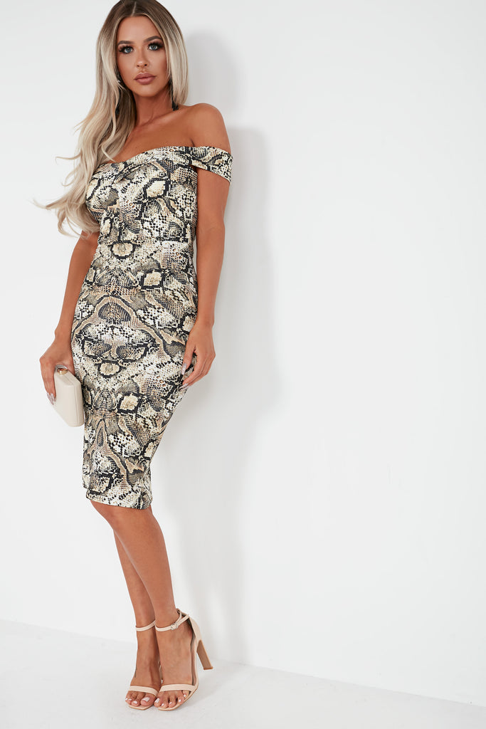Lauralee Snake Print Bardot Midi Dress