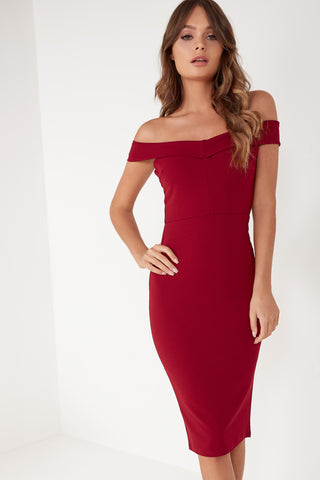 6cf24e89e0d4 Lauralee Wine Bardot Midi Dress