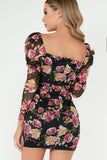 Laurel Black Rose Print Square Neck Dress
