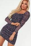 Laurel Purple Floral Square Neck Dress