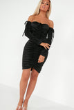 Lauren Black Slinky Ruched Bardot Dress