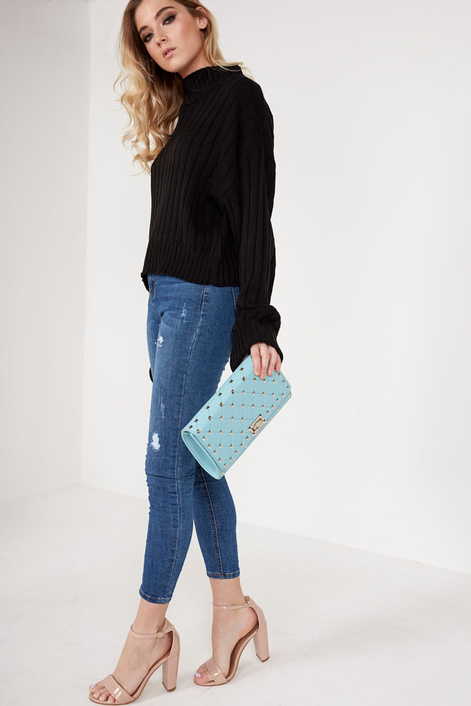 Lauren Blue Quilted Clutch Bag (88474124304)