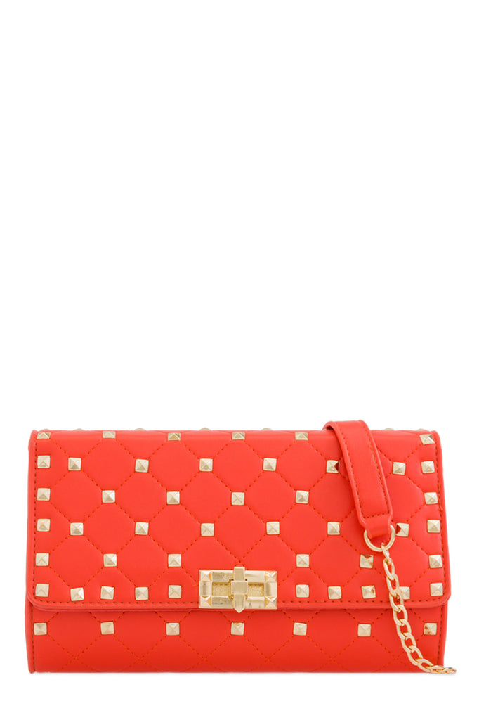 Lauren Orange Quilted Clutch Bag (88473534480)