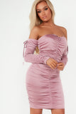Lauren Pink Slinky Ruched Bardot Dress