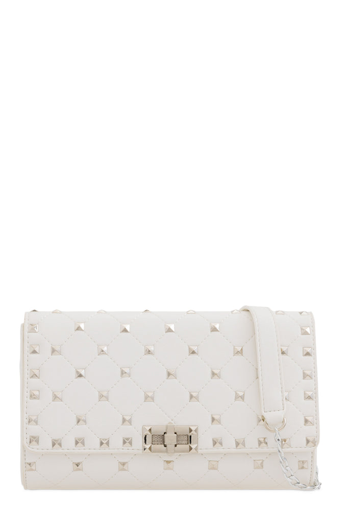 Lauren White Quilted Clutch Bag