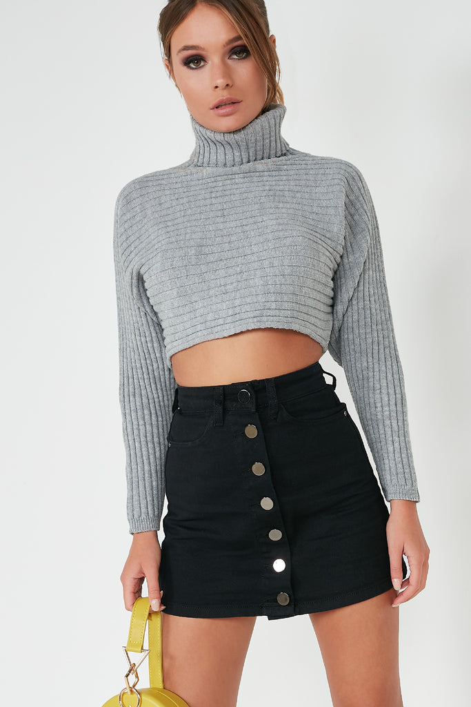 Laurie Grey Ribbed Knit Crop Jumper