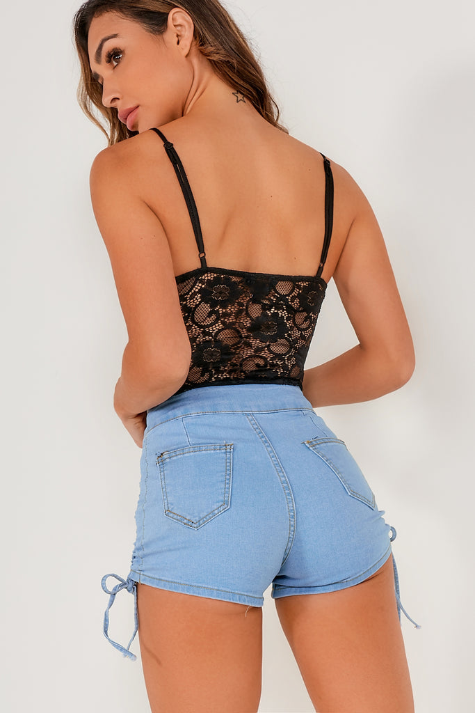 Leah Black Sheer Lace Bodysuit