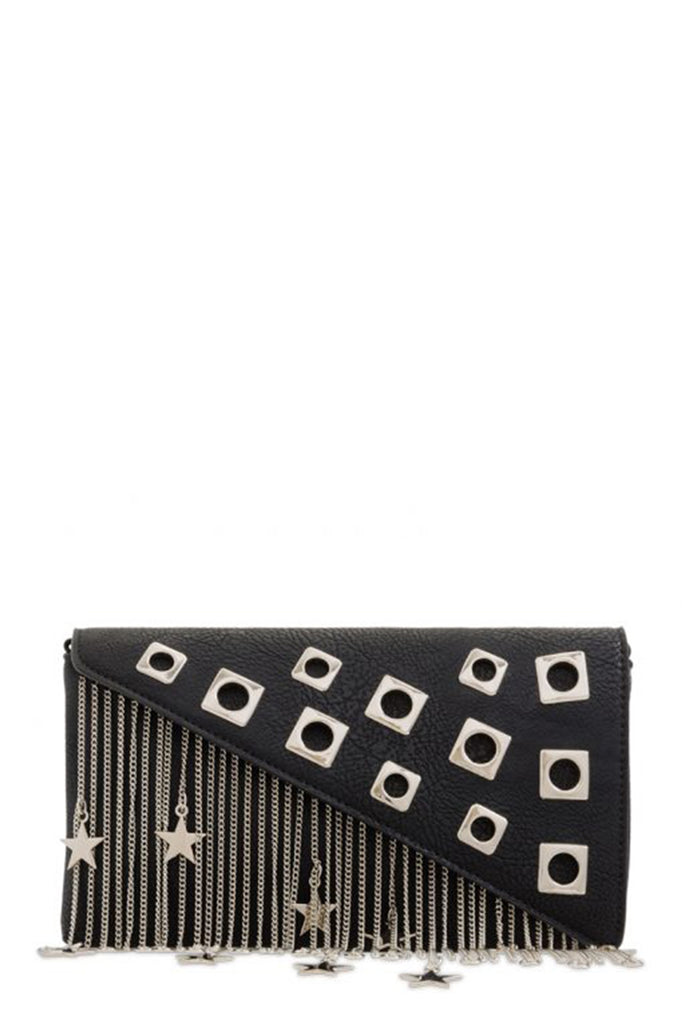Lebbie Black Metal Fringe Embellished Bag (1480960704578)