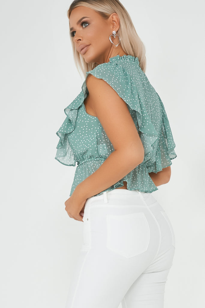 Leela Sage Polka Dot High Neck Frill Top