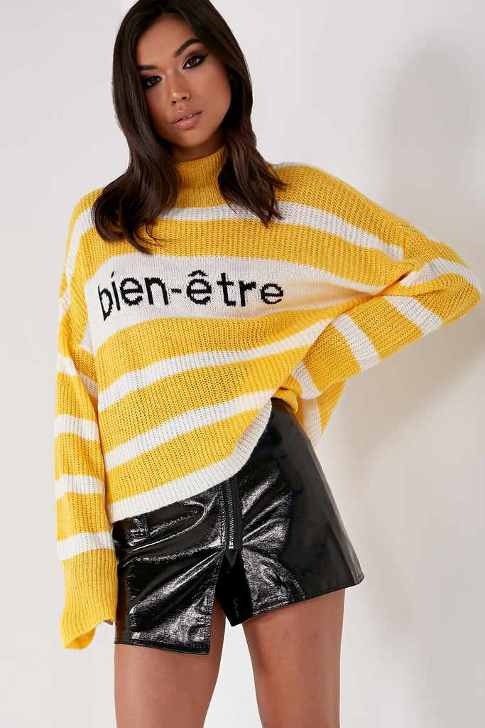 Leesa Yellow Striped Knit Jumper