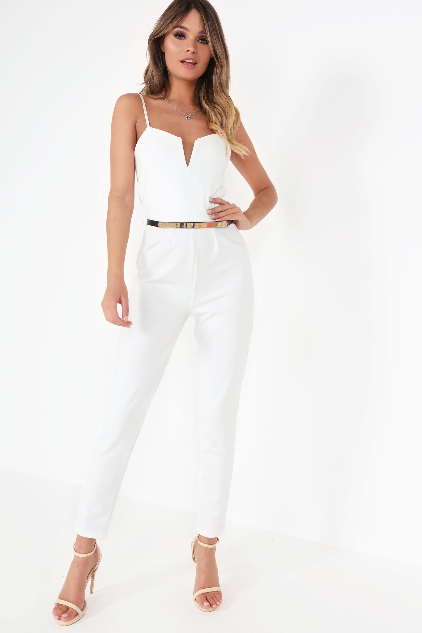 6cf0c4a88e Leia White Strappy Notched V Jumpsuit