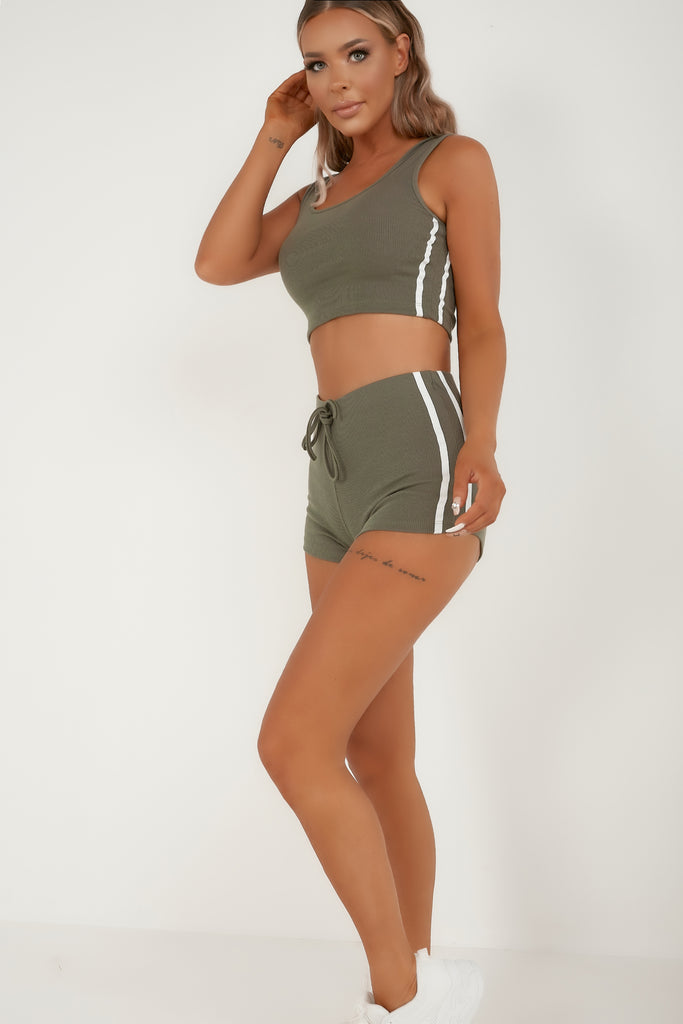 Lena Grey Ribbed Side Stripe Shorts Co Ord