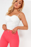 Lena White Ruched Bodice Crop Top