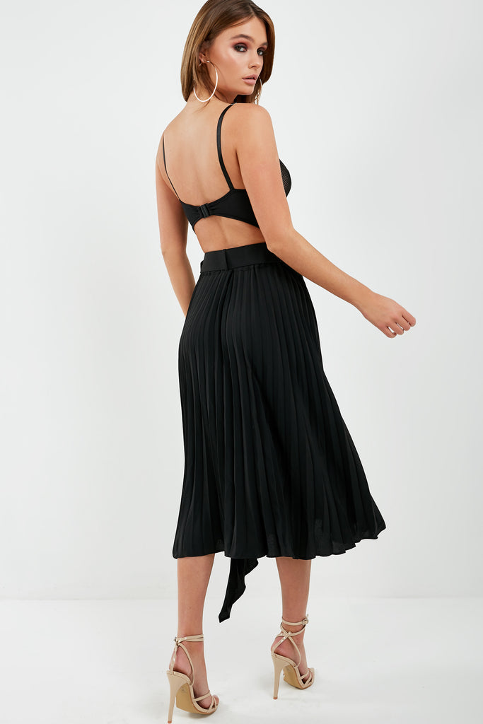 Lennie Black Pleated Asymmetric Skirt