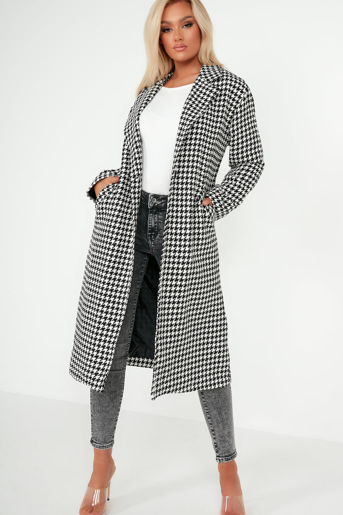 Lenny Monochrome Houndstooth Oversized Coat