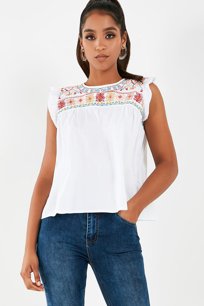 Lenny White Embroidered Smock Top