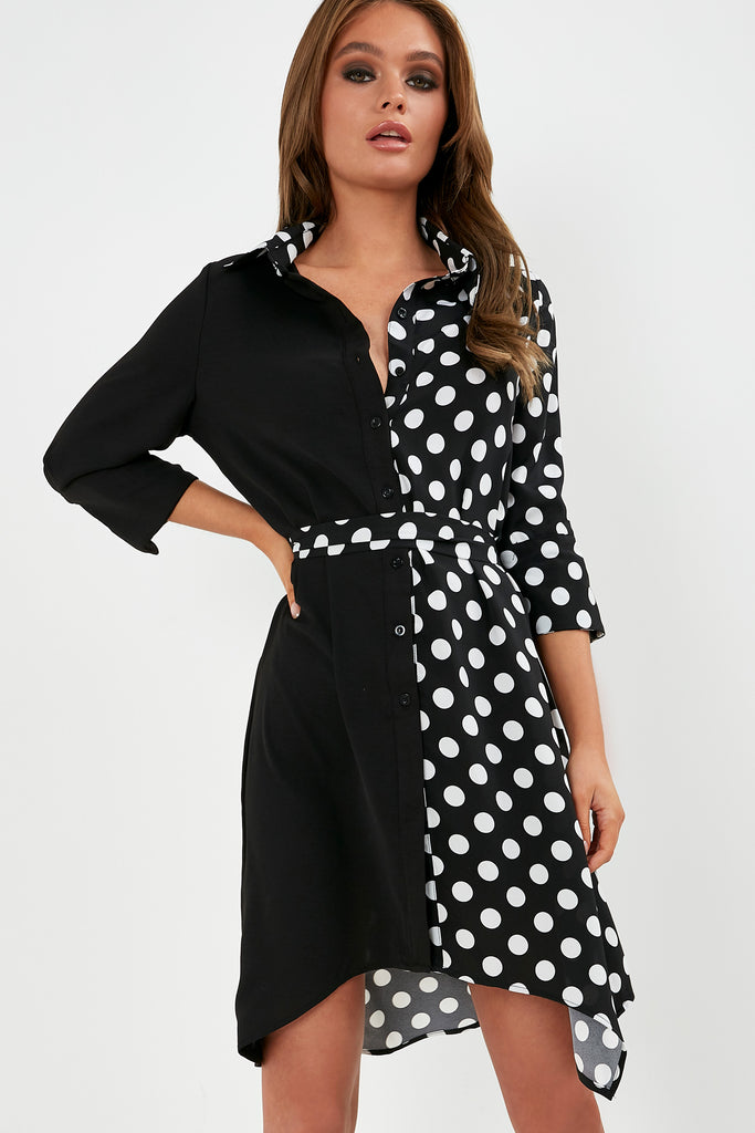 Leona Black Polka Dot Contrast Shirt Dress