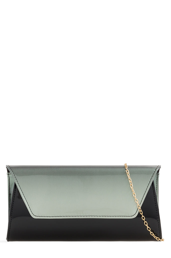 Levia Black and Grey Ombre Patent Clutch (1656675893314)