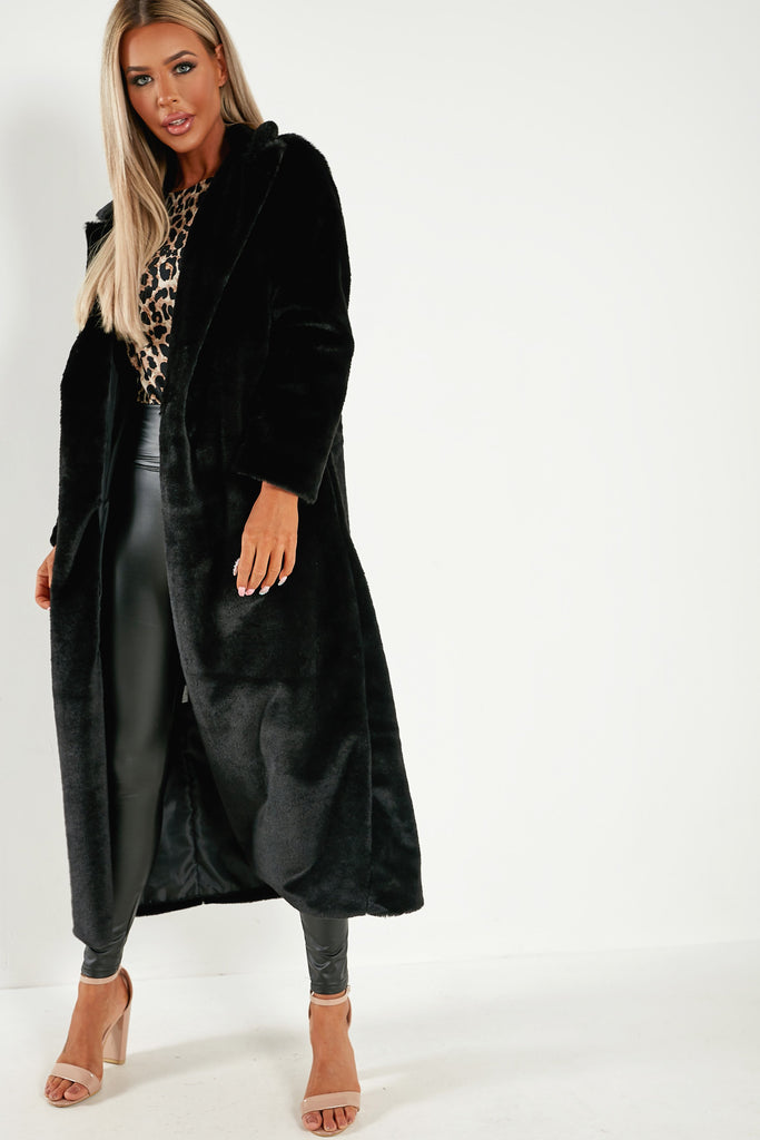 Lexus Black Faux Fur Long Coat