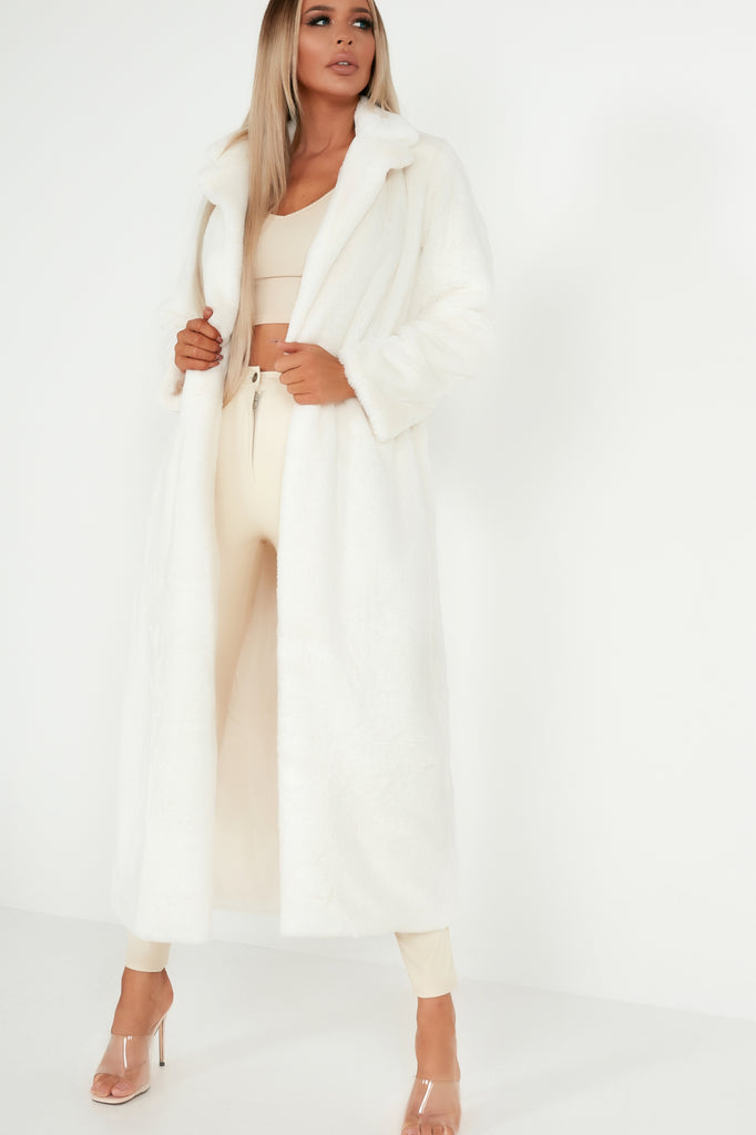 Lexus Cream Faux Fur Long Coat