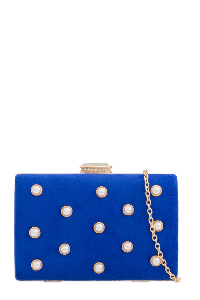 Linda Royal Blue Embellished Clutch Bag (88477368336)