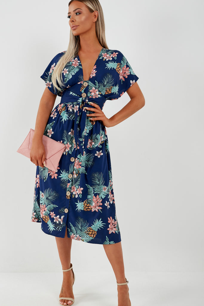 Lisa Navy Floral Button Midi Dress