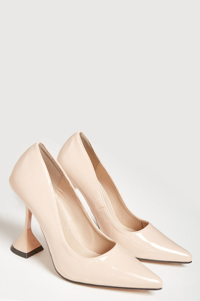 Lisha Nude Patent Flared Heel Court Shoe
