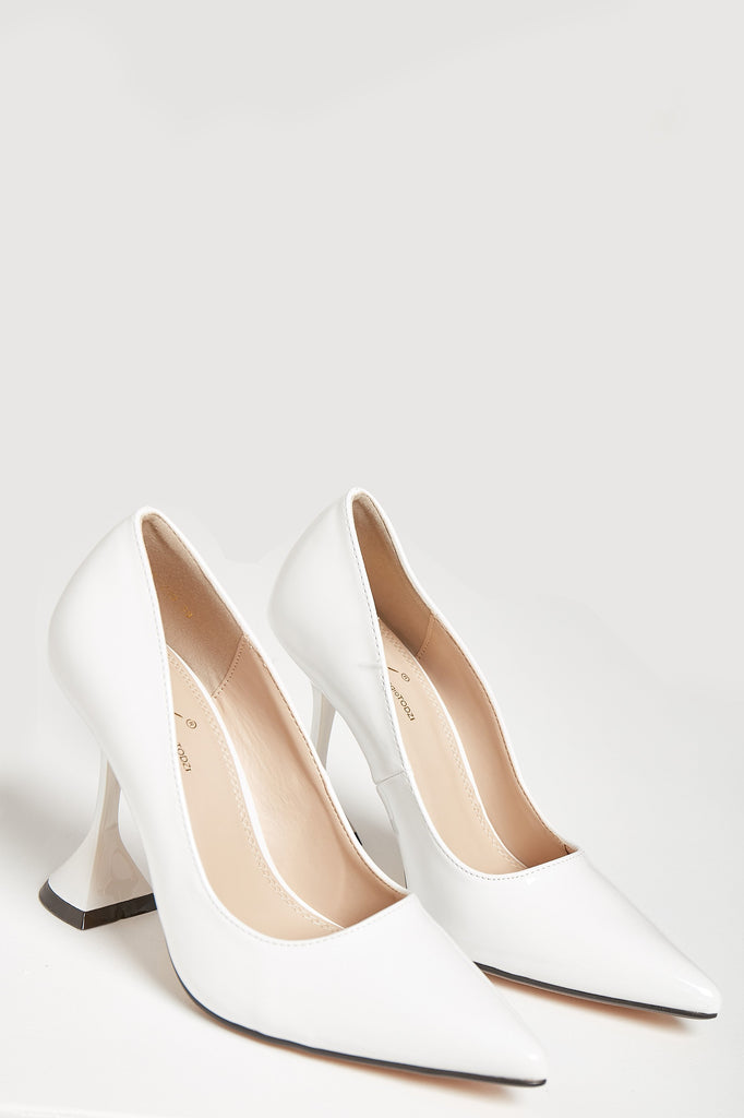 Lisha White Patent Flared Heel Court Shoe