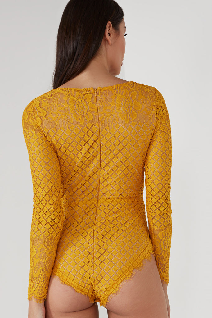 Lolli Mustard Long Sleeve Lace Bodysuit (1655094673474)
